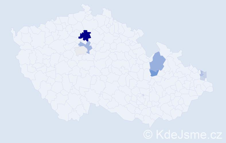 Příjmení: 'Hejla', počet výskytů 18 v celé ČR