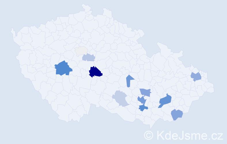 Příjmení: 'Čičatka', počet výskytů 40 v celé ČR