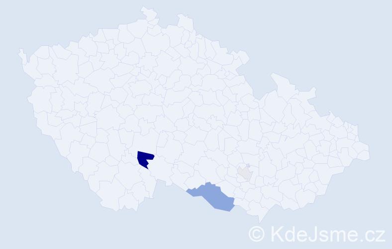 Příjmení: 'Kniknerová', počet výskytů 8 v celé ČR