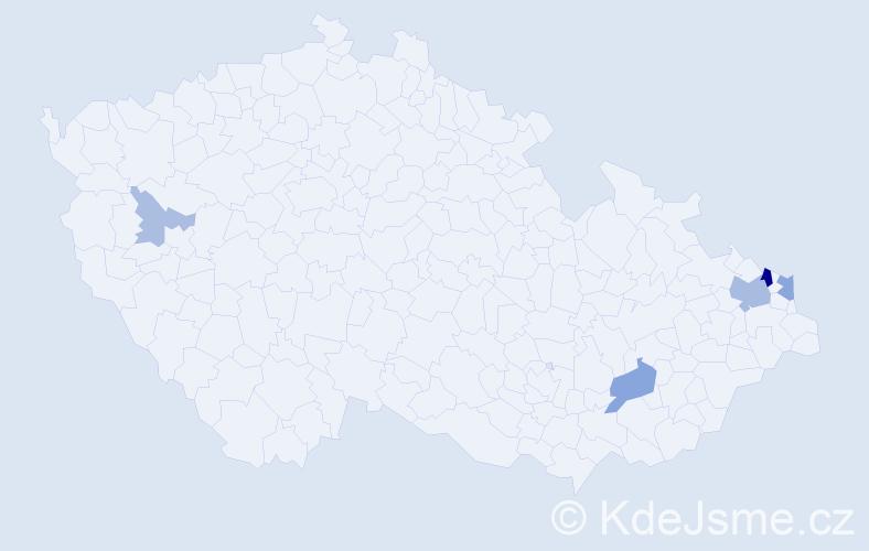 Příjmení: 'Czempiel', počet výskytů 13 v celé ČR