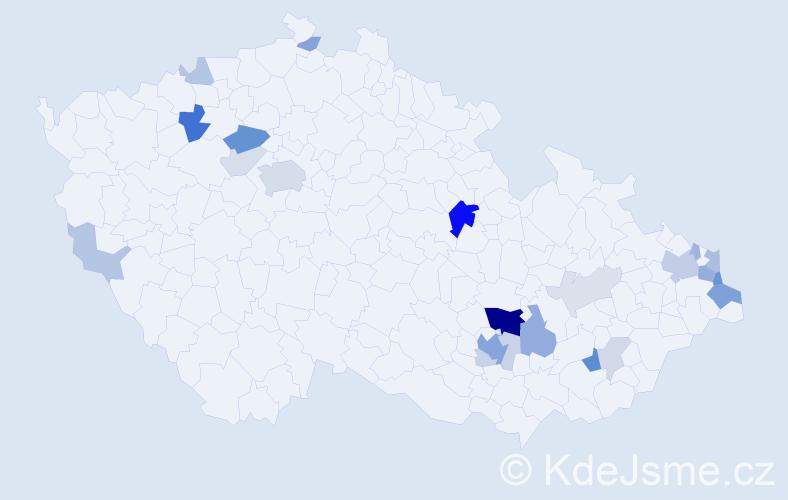 Příjmení: 'Lakota', počet výskytů 68 v celé ČR