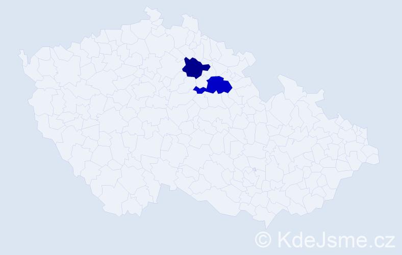 Příjmení: 'Habočíková', počet výskytů 3 v celé ČR