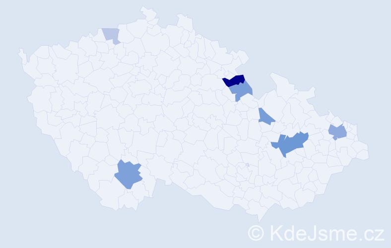 Příjmení: 'Gruškovská', počet výskytů 16 v celé ČR