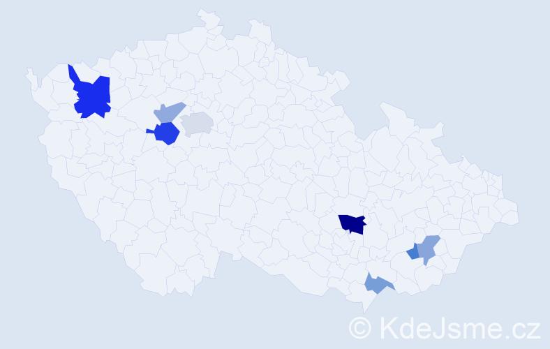 Příjmení: 'Čillíková', počet výskytů 14 v celé ČR