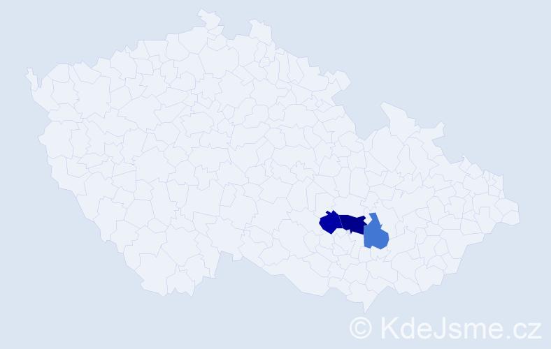 Příjmení: 'Kňour', počet výskytů 4 v celé ČR