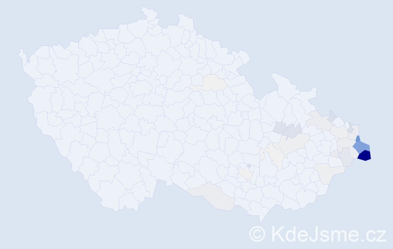Příjmení: 'Czudek', počet výskytů 189 v celé ČR