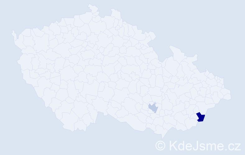 Příjmení: 'Hančikovský', počet výskytů 2 v celé ČR