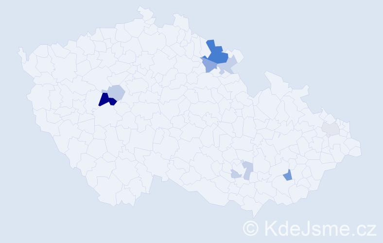 Příjmení: 'Burdilák', počet výskytů 18 v celé ČR