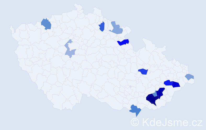 Příjmení: 'Hyjánková', počet výskytů 25 v celé ČR