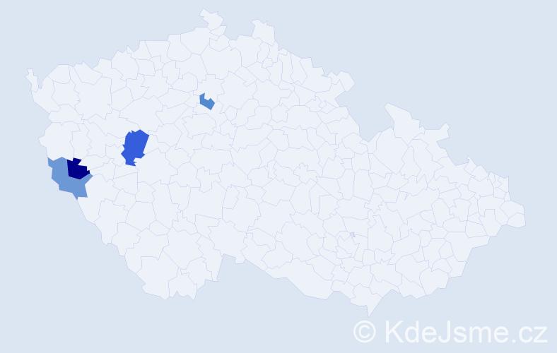 Příjmení: 'Hatlman', počet výskytů 10 v celé ČR