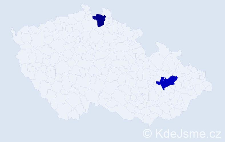 Příjmení: 'Daniele', počet výskytů 4 v celé ČR