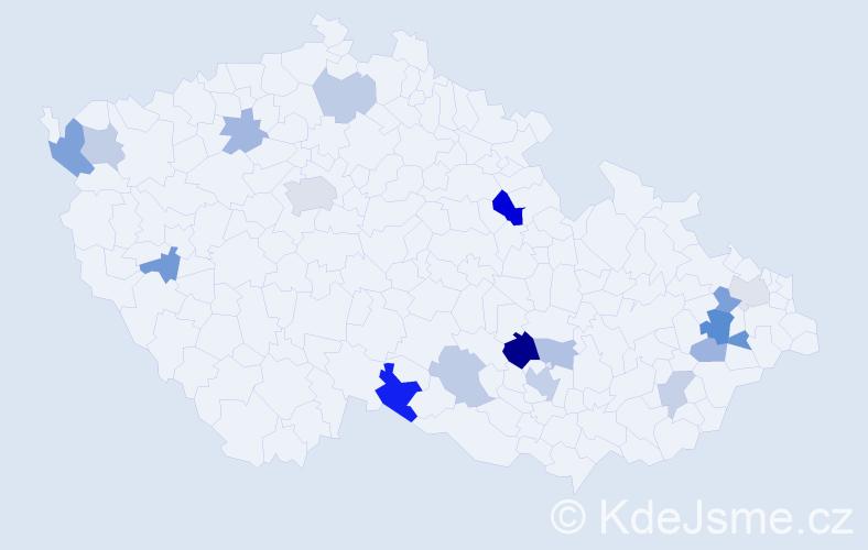 Příjmení: 'Kráľ', počet výskytů 32 v celé ČR