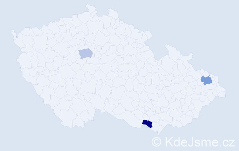 Příjmení: 'Brozák', počet výskytů 8 v celé ČR