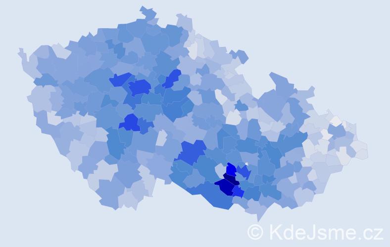 Příjmení: 'Procházková', počet výskytů 16517 v celé ČR