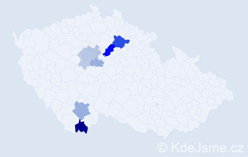 Příjmení: 'Kebl', počet výskytů 21 v celé ČR