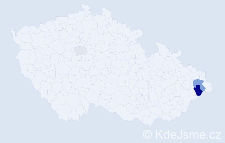 Příjmení: 'Ganguly', počet výskytů 3 v celé ČR