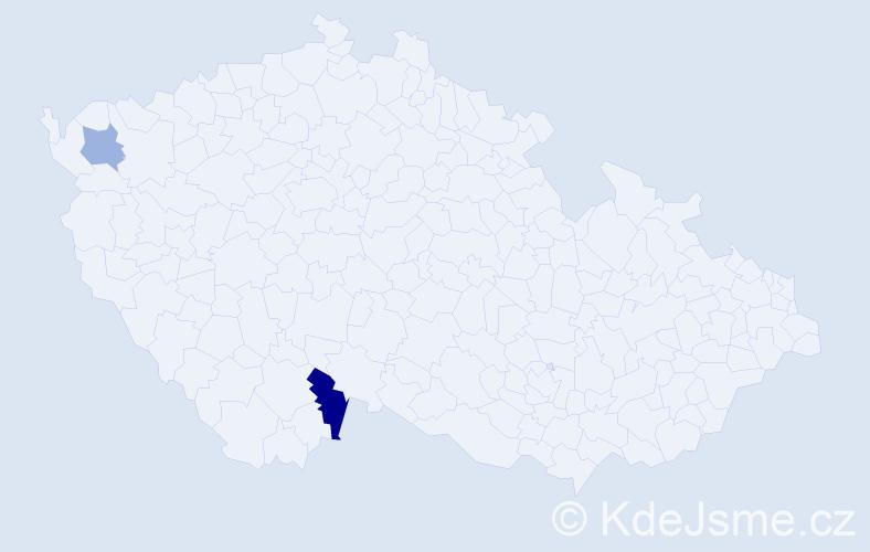 Příjmení: 'Hainböck', počet výskytů 3 v celé ČR
