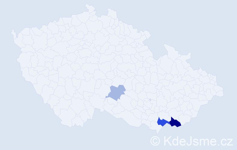 Příjmení: 'Kozányová', počet výskytů 7 v celé ČR