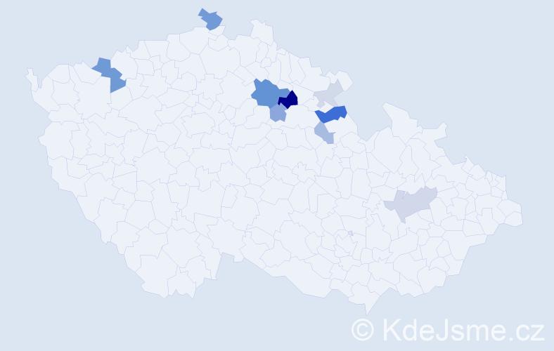 Příjmení: 'Kodydek', počet výskytů 25 v celé ČR