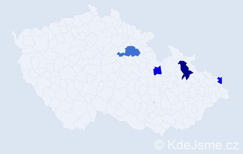 Příjmení: 'Gočalová', počet výskytů 9 v celé ČR