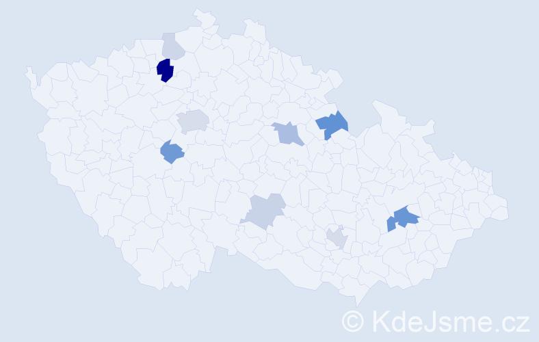 Příjmení: 'Christen', počet výskytů 22 v celé ČR