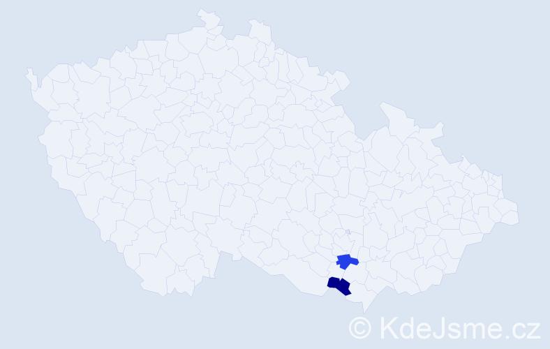 Příjmení: 'Buncková', počet výskytů 2 v celé ČR