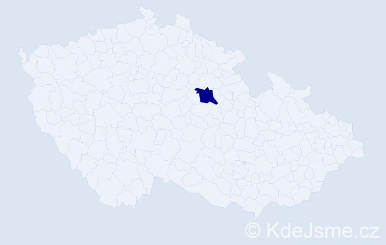"""Příjmení: '""""Běloušková Šťastná""""', počet výskytů 1 v celé ČR"""