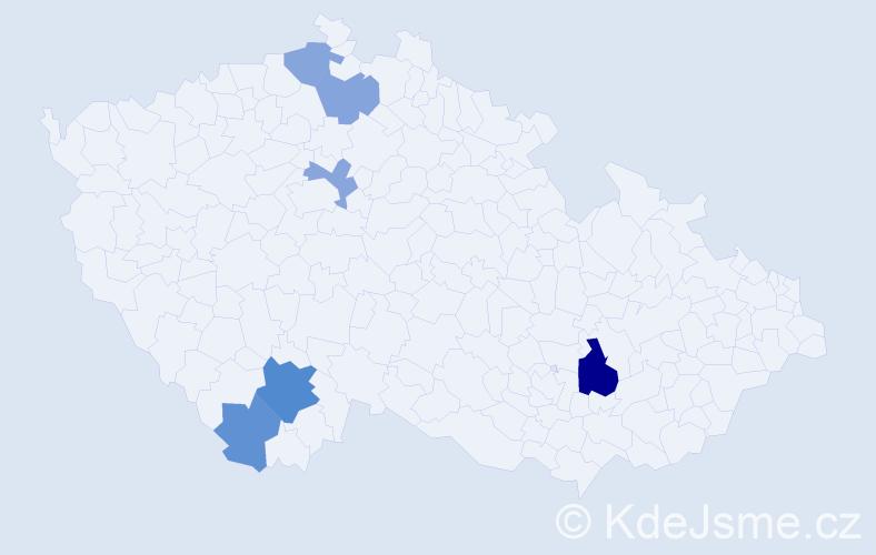Příjmení: 'Beň', počet výskytů 10 v celé ČR