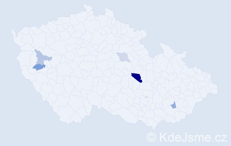 Příjmení: 'Cecha', počet výskytů 7 v celé ČR