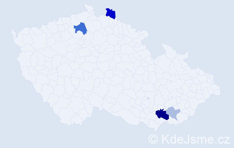 Příjmení: 'Kleker', počet výskytů 11 v celé ČR