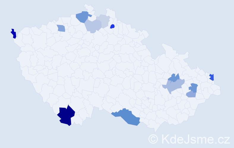 Příjmení: 'Čižmarová', počet výskytů 30 v celé ČR