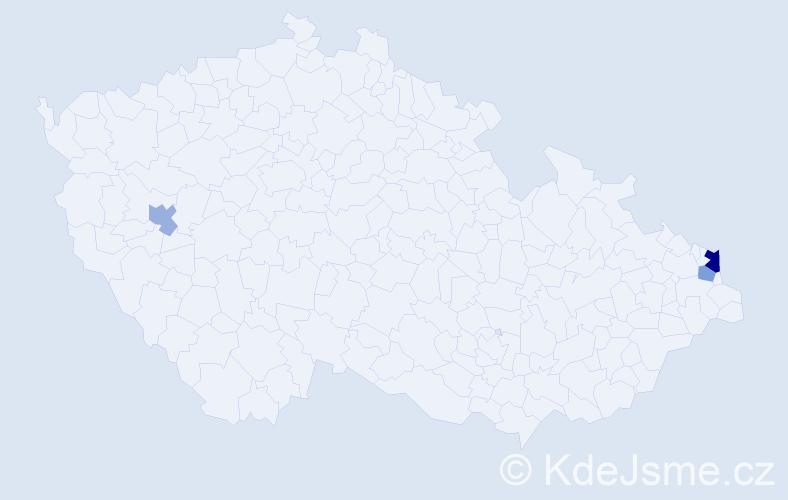 Příjmení: 'Majcíková', počet výskytů 5 v celé ČR