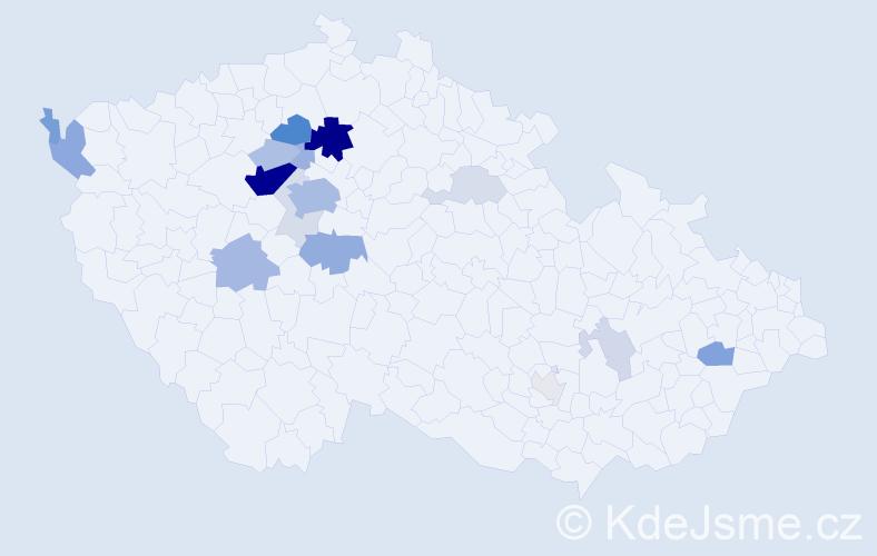 Příjmení: 'Datel', počet výskytů 61 v celé ČR