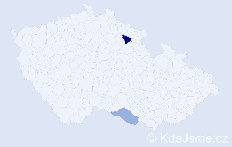 Příjmení: 'Lajčiak', počet výskytů 3 v celé ČR