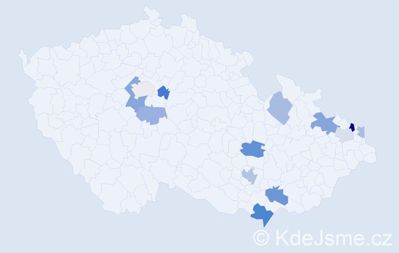 Příjmení: 'Herdinová', počet výskytů 23 v celé ČR