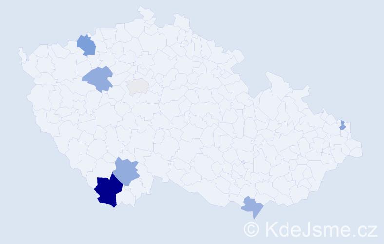 Příjmení: 'Kovariková', počet výskytů 12 v celé ČR