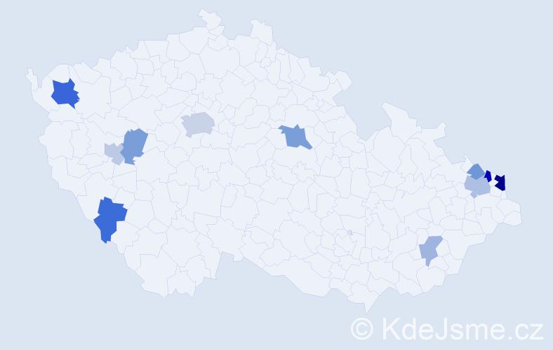 Příjmení: 'Branková', počet výskytů 23 v celé ČR
