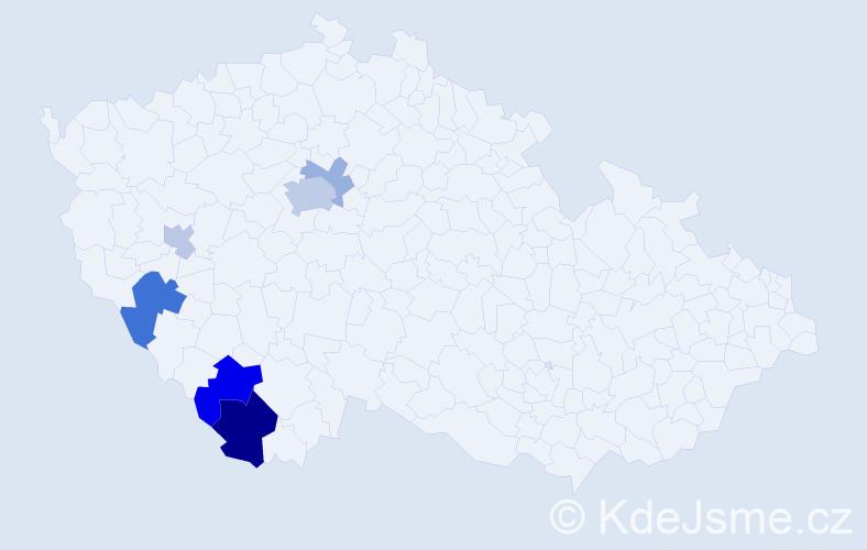 Příjmení: 'Dadek', počet výskytů 14 v celé ČR