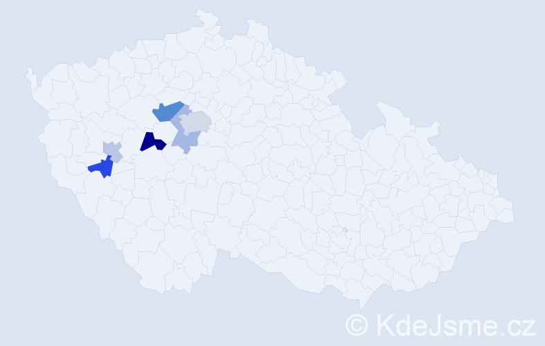 Příjmení: 'Dacejová', počet výskytů 11 v celé ČR