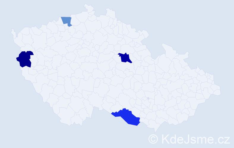 Příjmení: 'Kleanderová', počet výskytů 12 v celé ČR