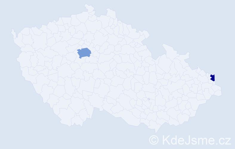 Příjmení: 'Dybczaková', počet výskytů 4 v celé ČR