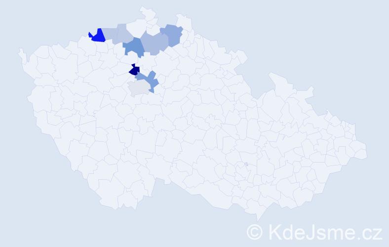 Příjmení: 'Holous', počet výskytů 17 v celé ČR