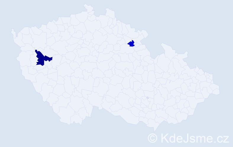 Příjmení: 'Kúš', počet výskytů 4 v celé ČR