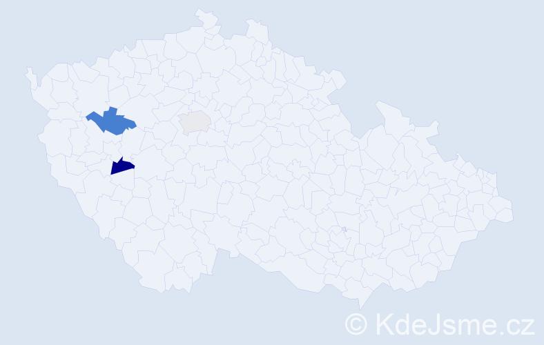 Příjmení: 'Danker', počet výskytů 3 v celé ČR