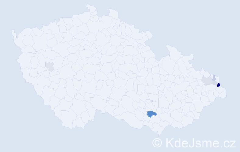 Příjmení: 'Gaborčík', počet výskytů 14 v celé ČR