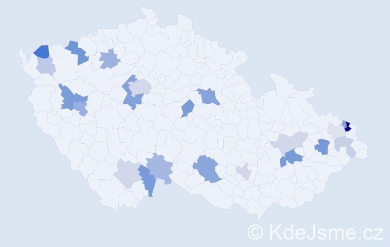 Příjmení: 'Kajanová', počet výskytů 45 v celé ČR