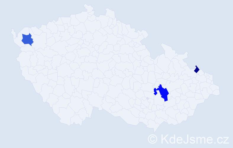 Příjmení: 'Erneková', počet výskytů 6 v celé ČR