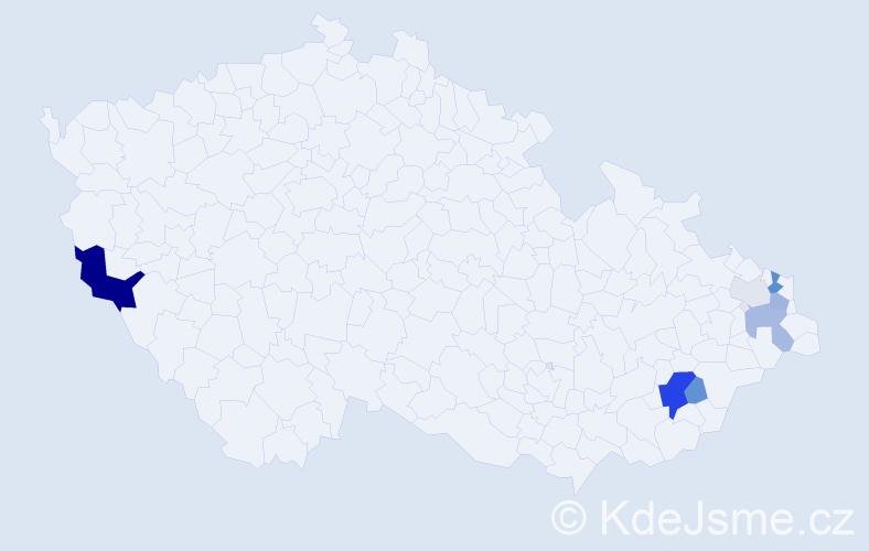 Příjmení: 'Hanáčíková', počet výskytů 23 v celé ČR