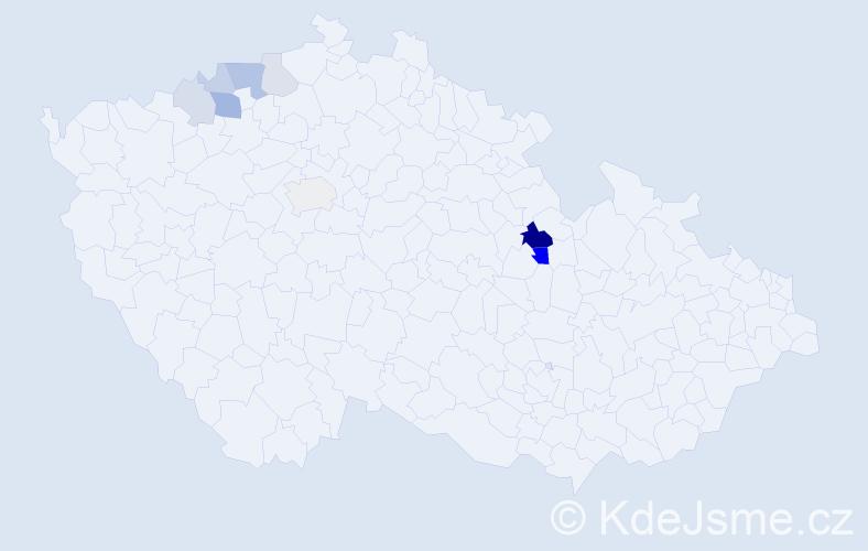 Příjmení: 'Egydy', počet výskytů 21 v celé ČR