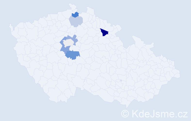 Příjmení: 'Dalibabová', počet výskytů 16 v celé ČR